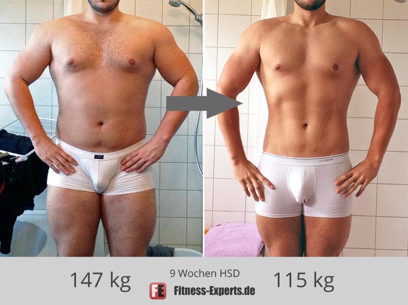 Christian vor und nach der HSD - von 35% auf 16% Körperfettanteil (-19%)